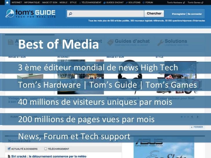 Best of Media 40 millions de visiteurs uniques par mois Tom's Hardware | Tom's Guide | Tom's Games News, Forum et Tech sup...