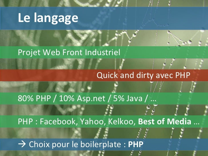 Le langage Quick and dirty avec PHP Projet Web Front Industriel 80% PHP / 10% Asp.net / 5% Java / … PHP : Facebook, Yahoo,...