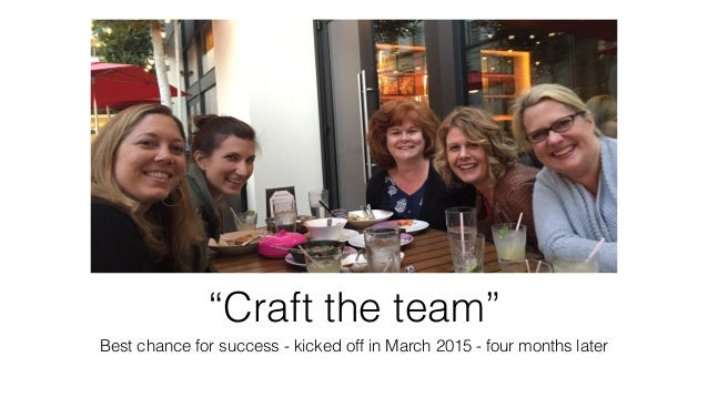 """""""Craft the team"""" Best chance for success - kicked off in March 2015 - four months later"""