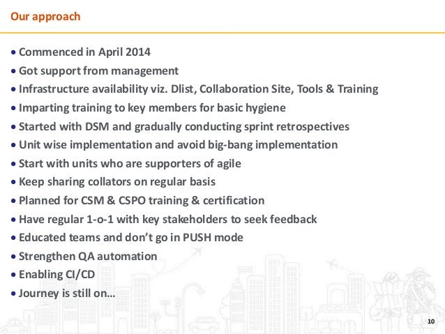 Our approach  Commenced in April 2014  Got support from management  Infrastructure availability viz. Dlist, Collaborati...