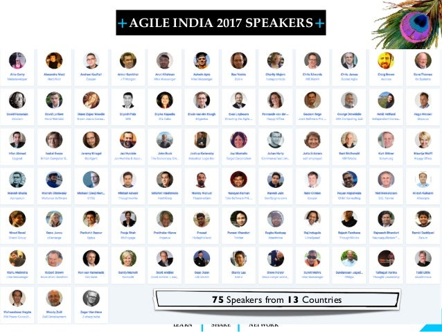 + + SHARELEARN NETWORK AGILE INDIA 2017 SPEAKERS 75 Speakers from 13 Countries