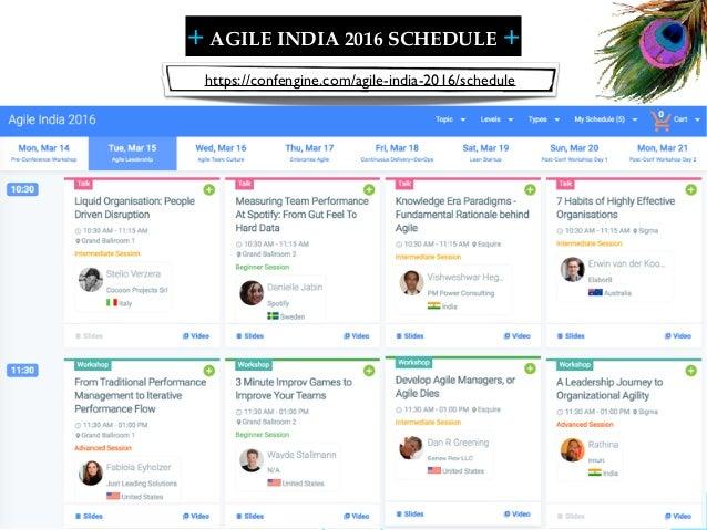 + + SHARELEARN NETWORK AGILE INDIA 2016 SCHEDULE 14 https://confengine.com/agile-india-2016/schedule