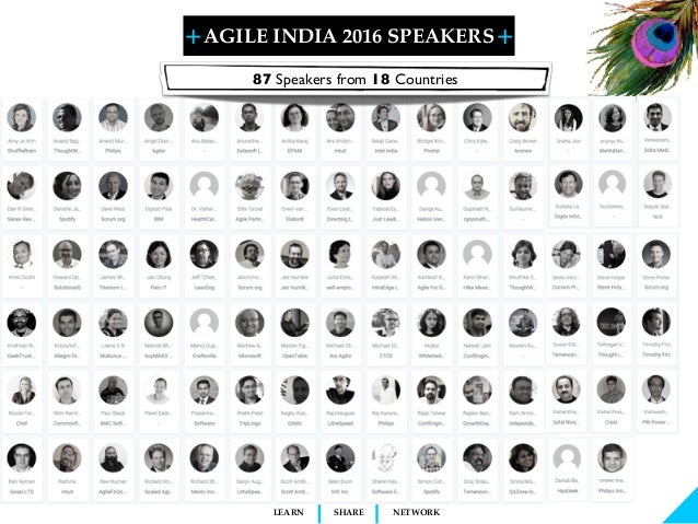 + + SHARELEARN NETWORK AGILE INDIA 2016 SPEAKERS Agile India 2015 is proud to present 73 global Thought Leaders and Practi...