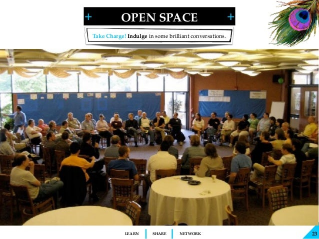 + + SHARELEARN NETWORK OPEN SPACE 23 Take Charge! Indulge in some brilliant conversations.