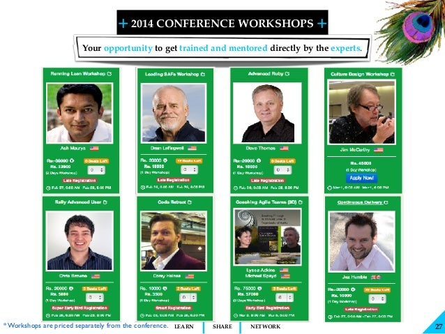 + + SHARELEARN NETWORK 2014 CONFERENCE WORKSHOPS 27 Your opportunity to get trained and mentored directly by the experts. ...