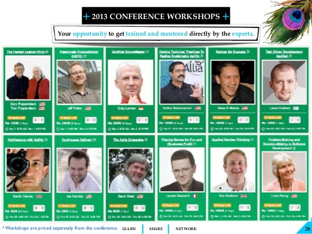 + + SHARELEARN NETWORK 2013 CONFERENCE WORKSHOPS 28 Your opportunity to get trained and mentored directly by the experts. ...