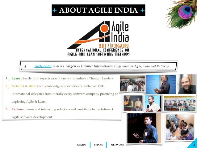 + + SHARELEARN NETWORK Agile India is Asia's Largest & Premier International conference on Agile, Lean and Patterns. 3 ABO...