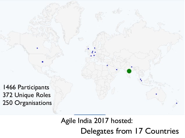 Delegates from 17 Countries Agile India 2017 hosted: 1542 Participants 384 Unique Roles 289 Organisations 1466 Participant...