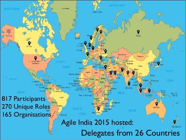Delegates from 26 Countries Agile India 2015 hosted: 817 Participants 270 Unique Roles 165 Organisations