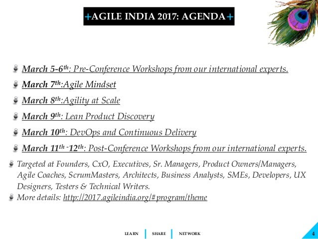 + + SHARELEARN NETWORK 4 AGILE INDIA 2017: AGENDA March 5-6th:Pre-Conference Workshops from our international experts. Ma...