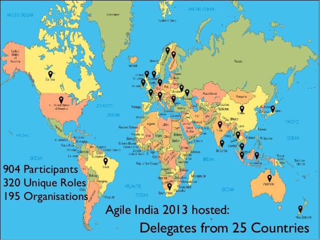 Delegates from 25 Countries Agile India 2013 hosted: 904 Participants 320 Unique Roles 195 Organisations