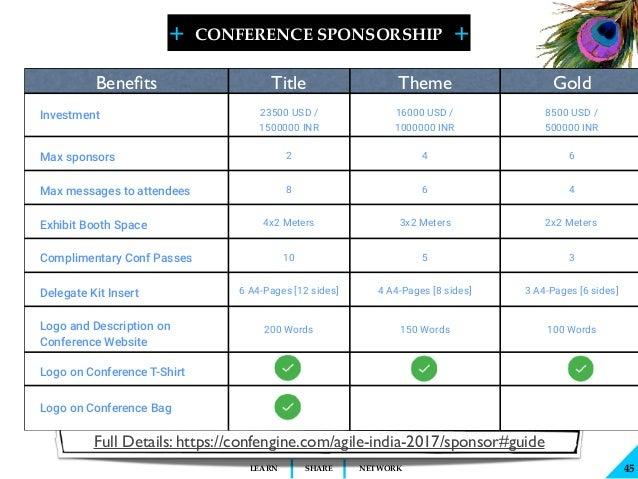 + + SHARELEARN NETWORK CONFERENCE SPONSORSHIP 45 Full Details: https://confengine.com/agile-india-2017/sponsor#guide Benefi...