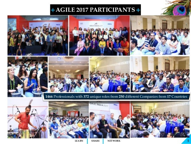 + + SHARELEARN NETWORK AGILE 2017 PARTICIPANTS 5 1466 Professionals with 372 unique roles from 250 different Companies fro...
