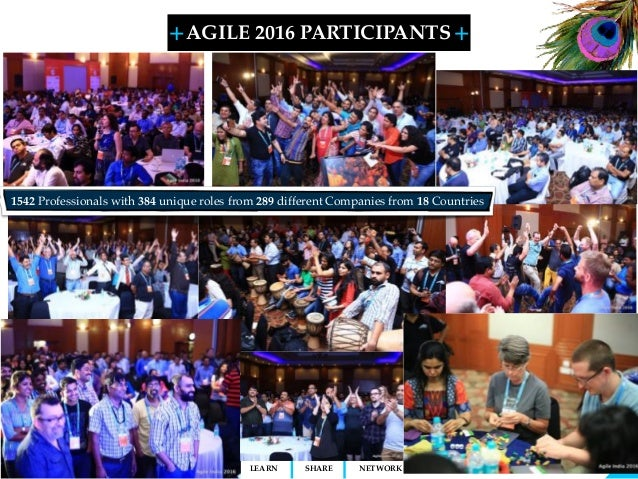 + + SHARELEARN NETWORK AGILE 2016 PARTICIPANTS 6 1542 Professionals with 384 unique roles from 289 different Companies fro...