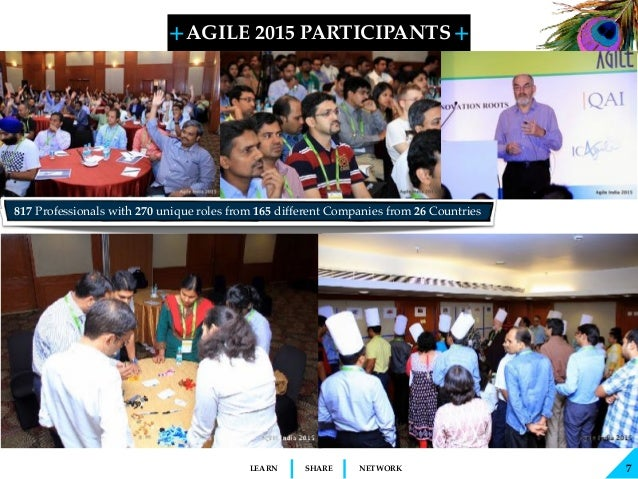 + + SHARELEARN NETWORK AGILE 2015 PARTICIPANTS 7 817 Professionals with 270 unique roles from 165 different Companies from...