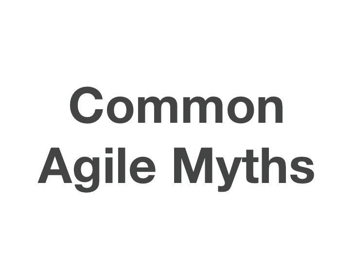 CommonAgile Myths