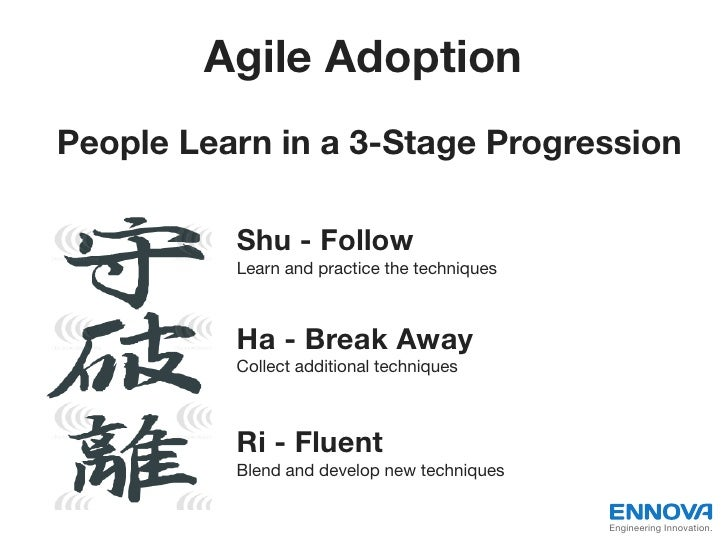 Agile AdoptionPeople Learn in a 3-Stage Progression          Shu - Follow          Learn and practice the techniques      ...