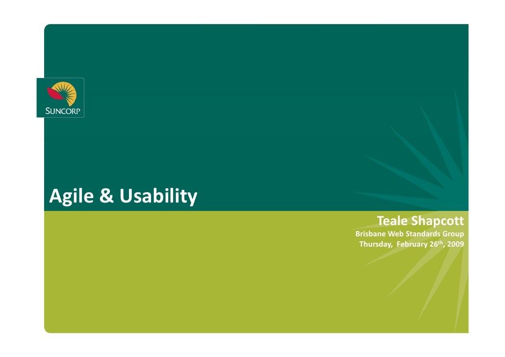 Agile&Usability                            TealeShapcott                            Teale Shapcott                    ...