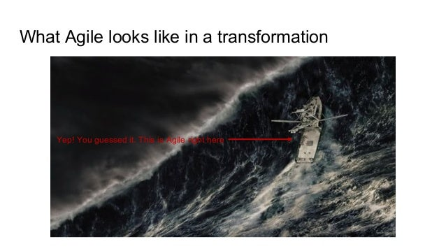 What Agile looks like in a transformation Yep! You guessed it. This is Agile right here