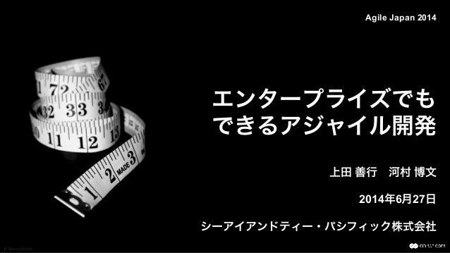 エンタープライズでも できるアジャイル開発 上田 善行河村 博文 2014年6月27日 シーアイアンドティー・パシフィック株式会社 Agile Japan 2014 D Sharon Pruitt