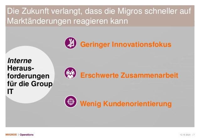 12.10.2020 | 7 Die Zukunft verlangt, dass die Migros schneller auf Marktänderungen reagieren kann Geringer Innovationsfoku...
