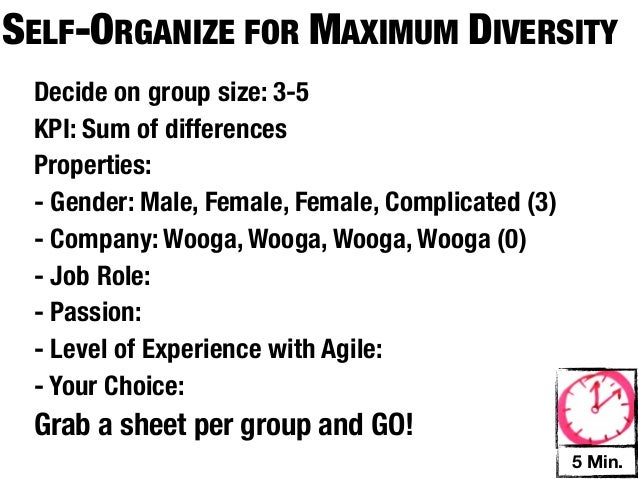 SELF-ORGANIZE FOR MAXIMUM DIVERSITY Decide on group size: 3-5 KPI: Sum of differences Properties: - Gender: Male, Female, ...