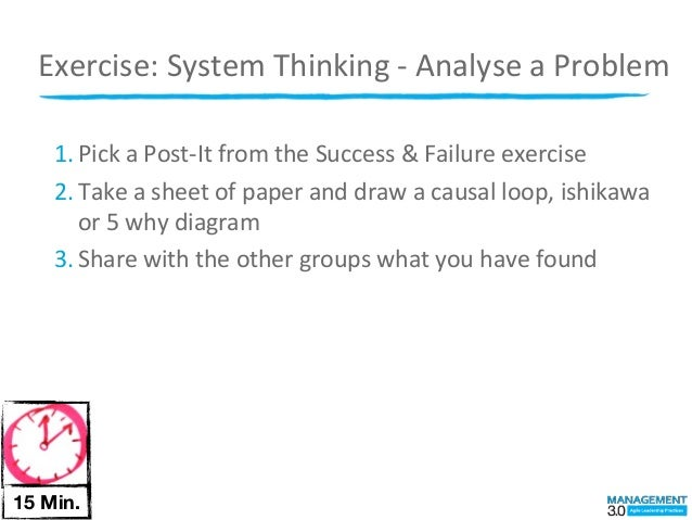 Exercise:	  System	  Thinking	  -­‐	  Analyse	  a	  Problem    1. Pick	  a	  Post-­‐It	  from	  the	  Success	  &	  Failur...