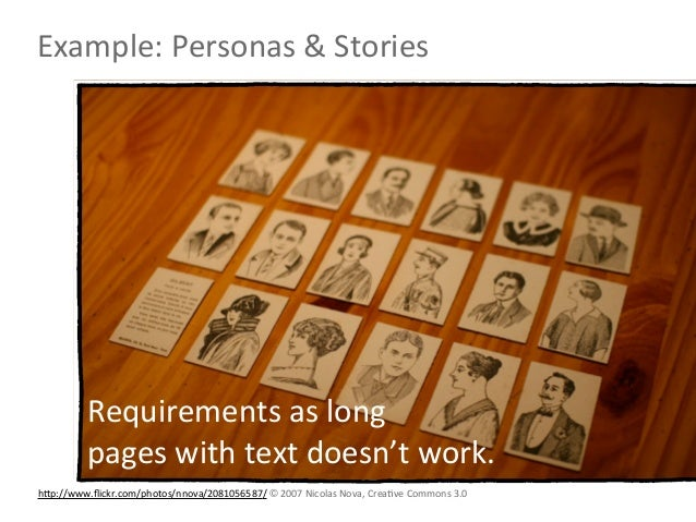 Example: Personas & Stories           Requirements as long           pages with text doesn't work.hNp://...