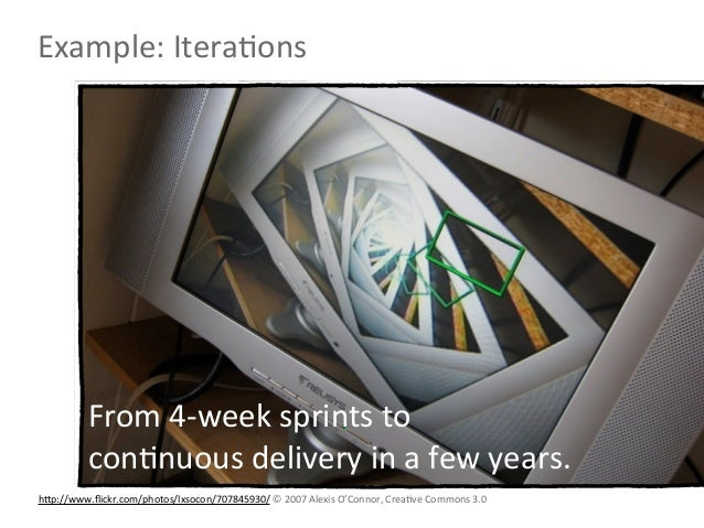 Example: IteraLons           From 4-‐week sprints to           conLnuous delivery in a few years. hNp...