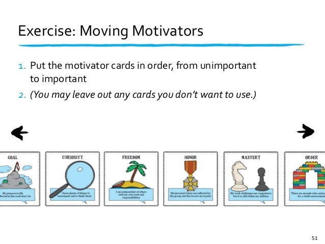 Exercise: Moving Motivators1. Put the motivator cards in order, from unimportant   to important2. (You...