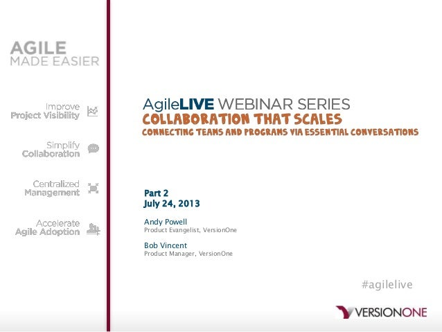 Part 2 July 24, 2013 Andy Powell Product Evangelist, VersionOne Bob Vincent Product Manager, VersionOne #agilelive