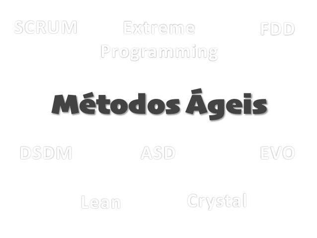 SCRUM Extreme   Programming FDD DSDM Lean Crystal ASD EVO Métodos Ágeis
