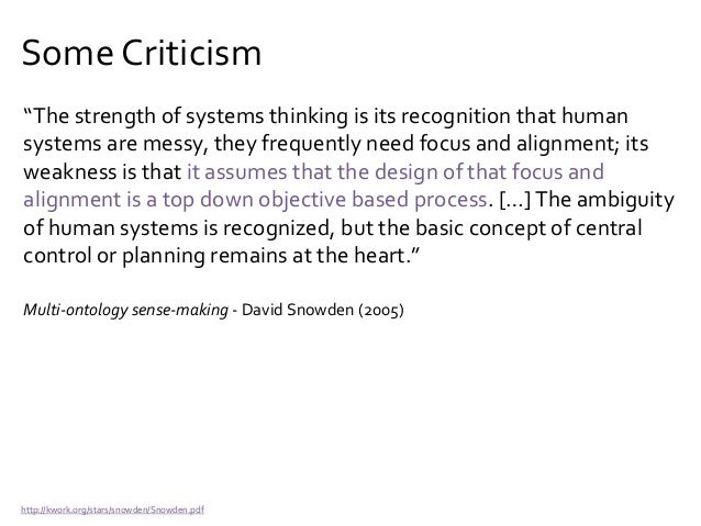 "Some Criticism ""Systems thinking contains a fundamental difficulty right at its roots.This is to regard human interaction ..."
