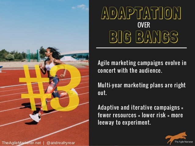 #3 BIG BANGS Agile marketing campaigns evolve in concert with the audience. Multi-year marketing plans are right out. Adap...