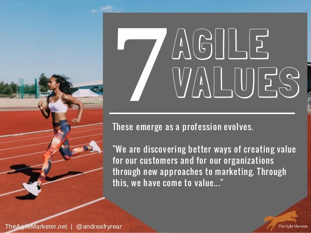"""7AGILE VALUES These emerge as a profession evolves. """"We are discovering better ways of creating value for our customers an..."""