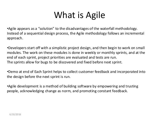 Agile methodologies overview for What is the difference between waterfall and agile methodologies