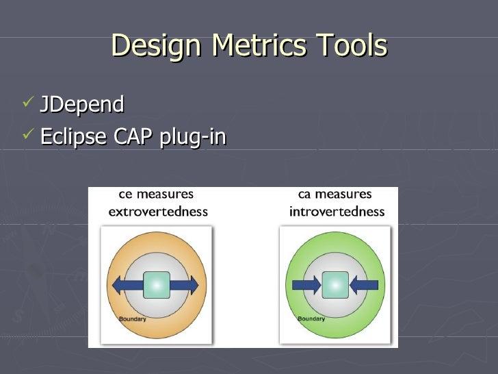 Design Metrics Tools <ul><li>JDepend </li></ul><ul><li>Eclipse CAP plug-in </li></ul>