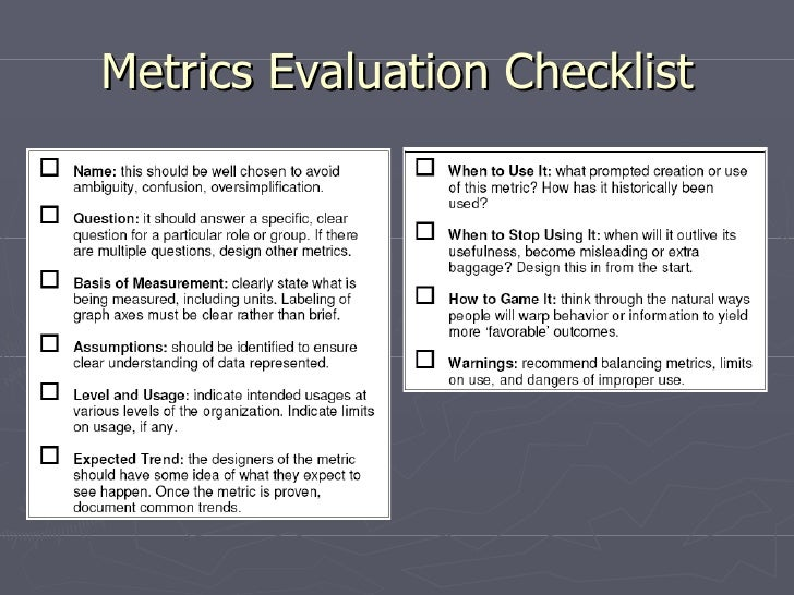 Metrics Evaluation Checklist