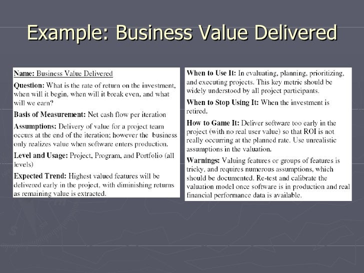 Example: Business Value Delivered