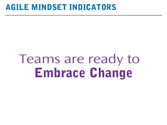 AGILE MINDSET INDICATORS Teams are ready to Embrace Change