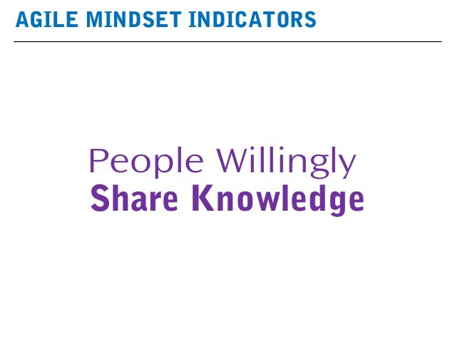 AGILE MINDSET INDICATORS People Willingly Share Knowledge