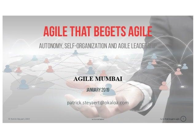 Agile that begets agile© Patrick Steyaert, 2019 1 Agile that begets agile january 2019 patrick.steyaert@okaloa.com Autonom...