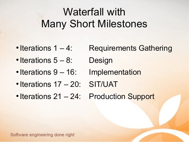 Waterfall with Many Short Milestones ● Iterations 1 – 4: Requirements Gathering ● Iterations 5 – 8: Design ● Iterations 9 ...