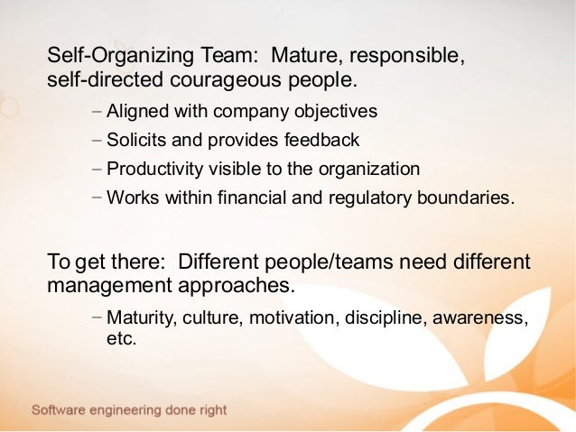 Self-Organizing Team: Mature, responsible, self-directed courageous people. – Aligned with company objectives – Solicits a...