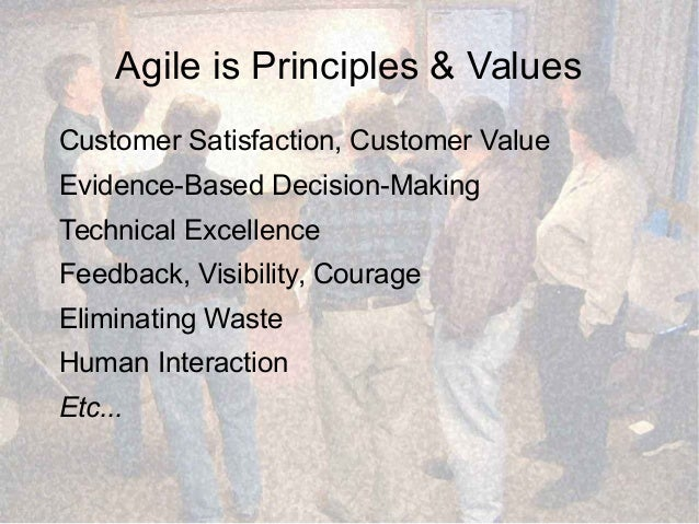 Agile is Principles & Values Customer Satisfaction, Customer Value Evidence-Based Decision-Making Technical Excellence Fee...