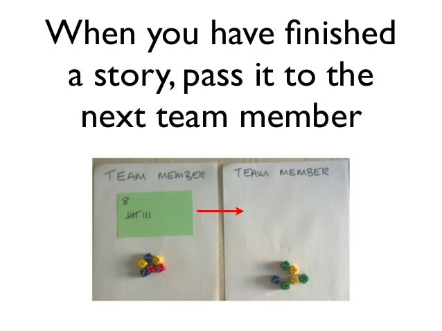When you have finished  a story, pass it to the  next team member