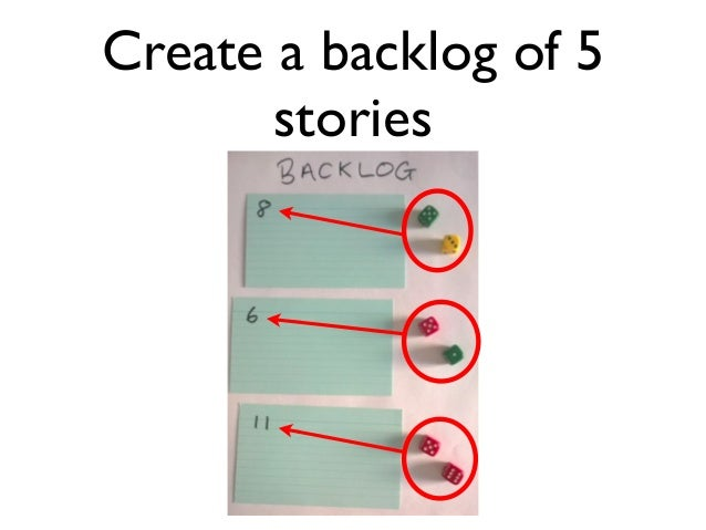Create a backlog of 5  stories
