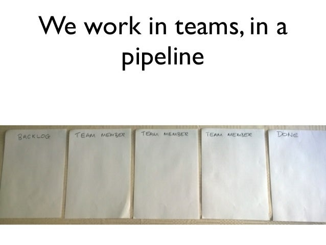 We work in teams, in a  pipeline