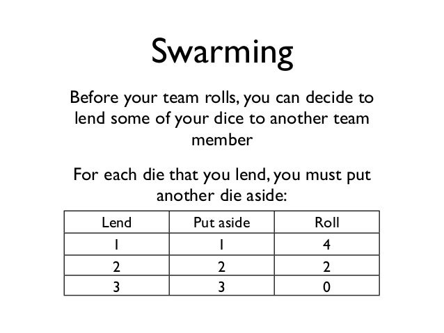 Swarming  Before your team rolls, you can decide to  lend some of your dice to another team  member  For each die that you...