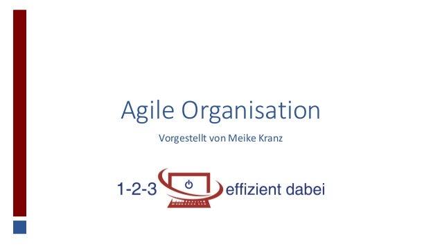 Agile Organisation Vorgestellt von Meike Kranz